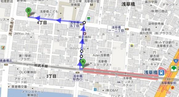 浅草橋駅からの地図